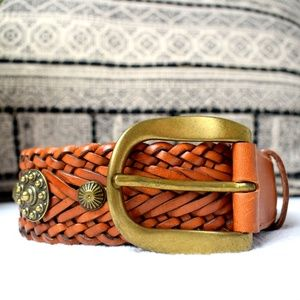 DKNY Leather Braided Belt with Brass Buckle